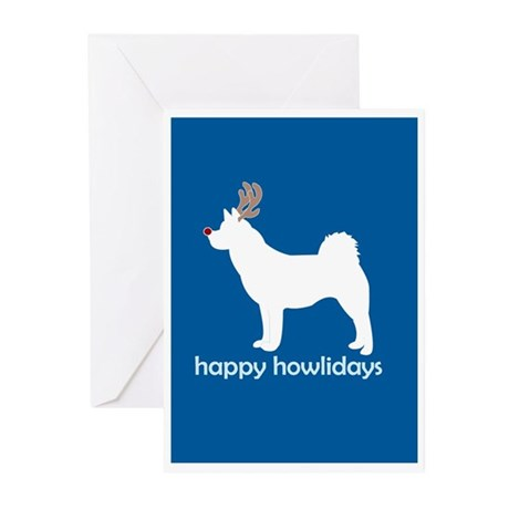 """Akita """"Happy Howlidays"""" Greeting Cards (Package of"""