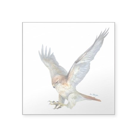 "striking Red-tail Hawk Square Sticker 3"" x 3&"