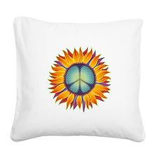 Peace Flower Square Canvas Pillow