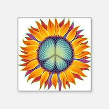"Peace Flower Square Sticker 3"" x 3"""