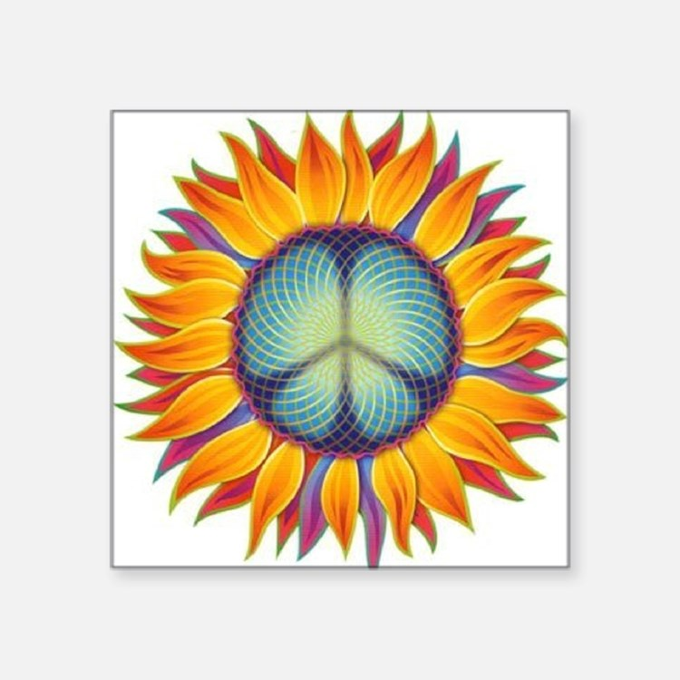 "Peace Flower Square Sticker 3"" x 3"""