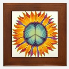 Peace Flower Framed Tile