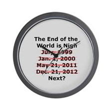 End of the World is Nigh button Wall Clock