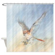 striking red-tail hawk Shower Curtain