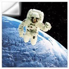 Composite image of a spacewalk over Earth Wall Decal
