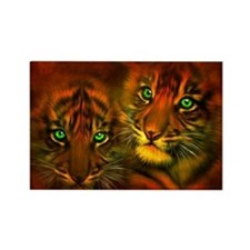 Two Tigers Rectangle Magnet