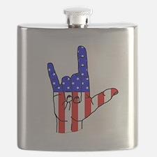 I Love USA Sign Language hand Flask