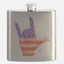 USA Flag ILY sign language hand Flask