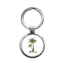 Twin Palm Tree Round Keychain