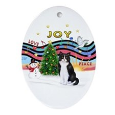 Cute Tuxedo cat christmas Ornament (Oval)