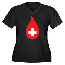 Donate Blood Women's Plus Size V-Neck Dark T-Shirt