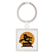 Bonsai Retro Square Keychain