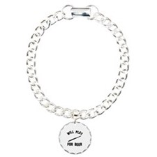 Will play the Flute for beer Charm Bracelet, One C
