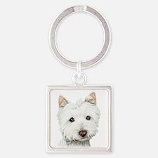 Cute West Highland White Terrier Dog Square Keycha