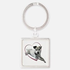 Love Jack Russell Terrier Dog Square Keychain