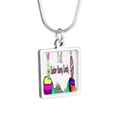 Easter Bunny Candy Silver Square Necklace