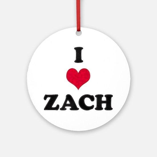 I Love Zach Round Ornament