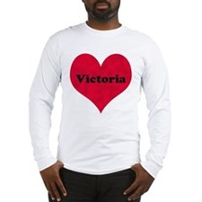 Victoria Leather Heart Long Sleeve T-Shirt