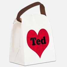 Ted Leather Heart Canvas Lunch Bag