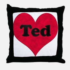 Ted Leather Heart Throw Pillow