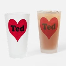 Ted Leather Heart Drinking Glass