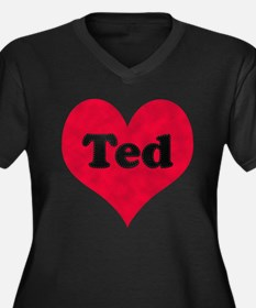 Ted Leather Heart Women's Plus Size V-Neck Dark T-