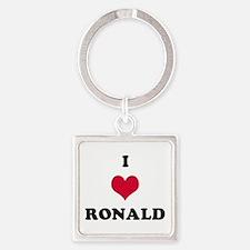 I Love Ronald Square Keychain
