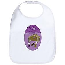 Purple Nativity Scene Bib