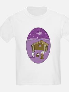 Purple Nativity Scene Kids T-Shirt
