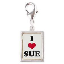 I Love Sue Silver Portrait Charm