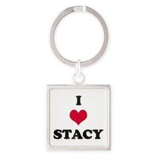 I Love Stacy Square Keychain