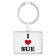I Love Sue Landscape Keychain