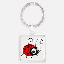 Cute Ladybug Square Keychain