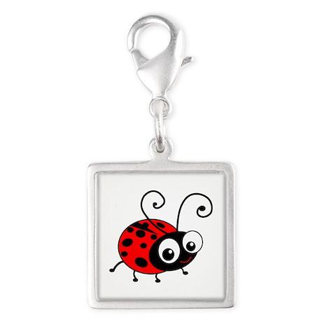 Cute Ladybug Silver Square Charm