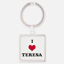 I Love Teresa Square Keychain