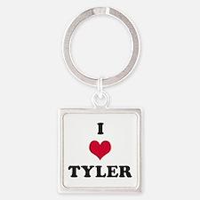 I Love Tyler Square Keychain