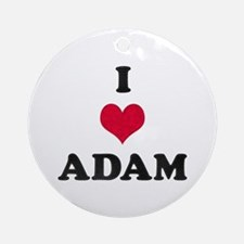 I Love Adam Round Ornament