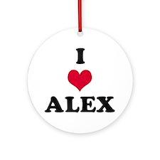 I Love Alex Round Ornament