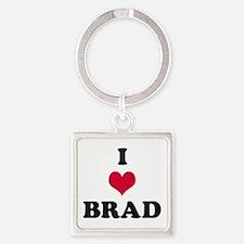I Love Brad Square Keychain