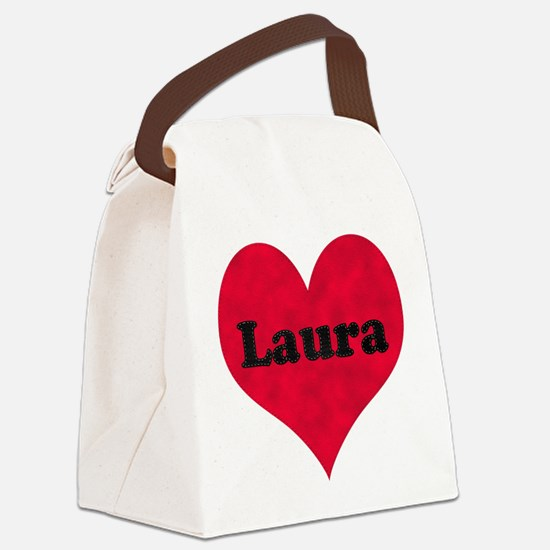 Laura Leather Heart Canvas Lunch Bag