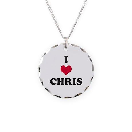 I Love Chris Necklace Circle Charm