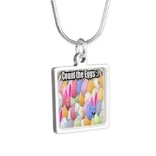 Easter Egg Puzzle Silver Square Necklace