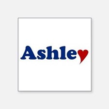 "Ashley with Heart Square Sticker 3"" x 3"""