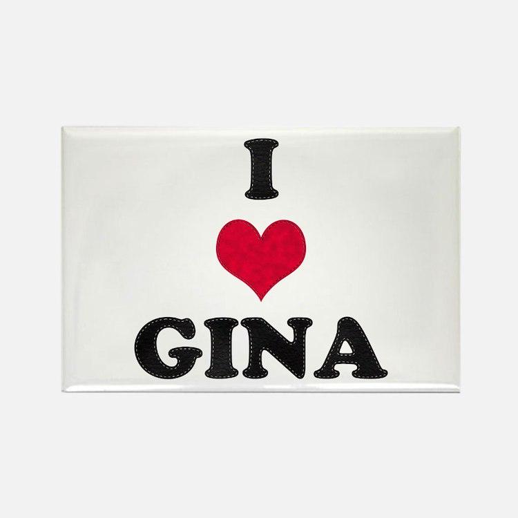 I Love Gina Rectangle Magnet
