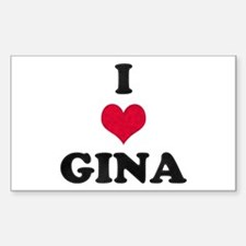 I Love Gina Rectangle Decal