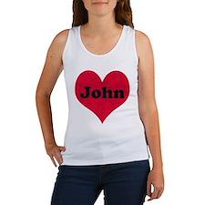 John Leather Heart Women's Tank Top