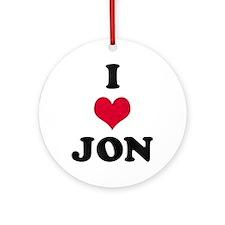 I Love Jon Round Ornament