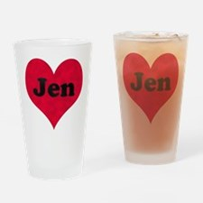 Jen Leather Heart Drinking Glass
