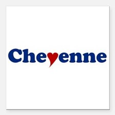 "Cheyenne with Heart Square Car Magnet 3"" x 3"""