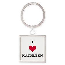 I Love Kathleen Square Keychain